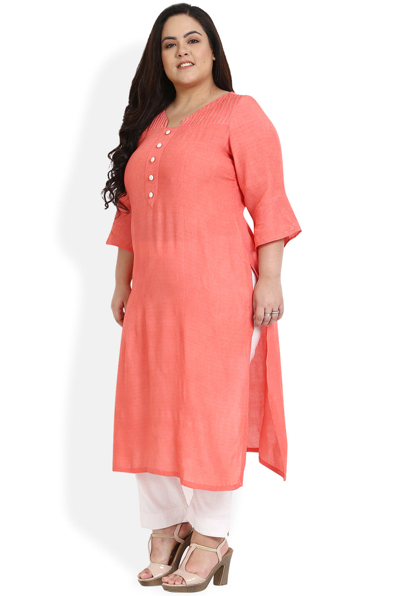 Coral Button Detail Frill Sleeve Kurti
