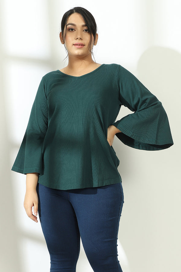 Emerald Green Autumn Bell Sleeve Top