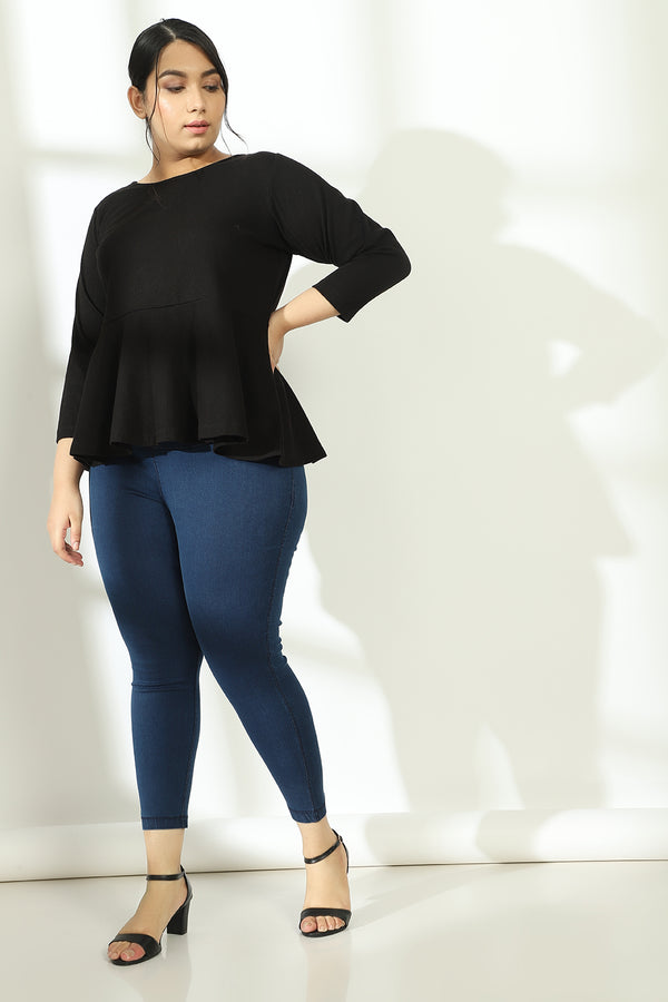 Black Autumn Peplum Top