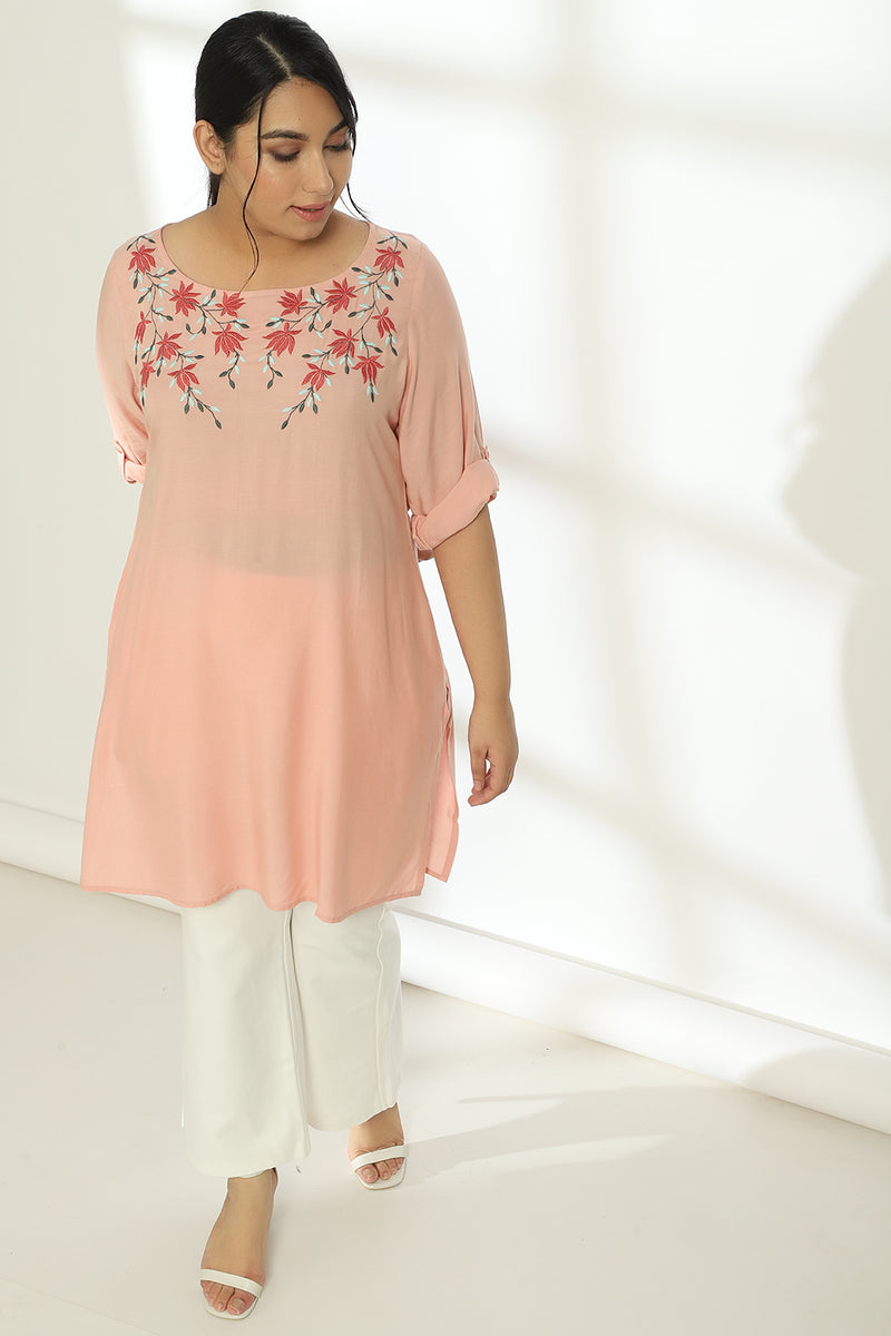 Rose Neckline Embroidery Short Kurti