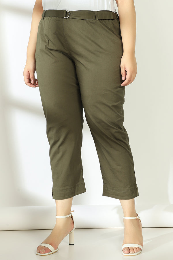 Olive Basic Stretchable Relax Trousers