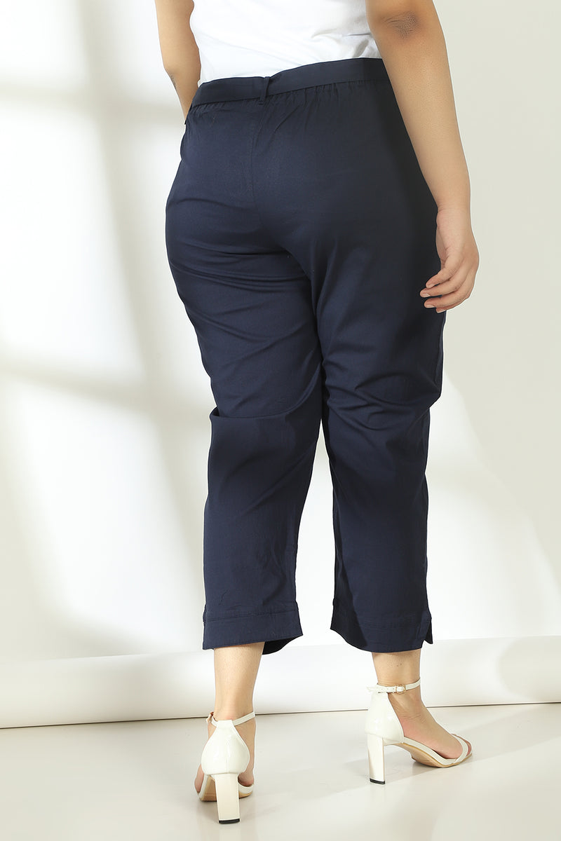Navy Stretchable Relax Trousers