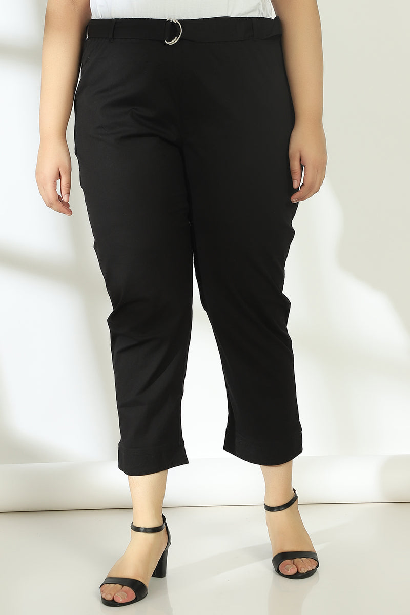 Jet Black Stretchable Relax Trousers