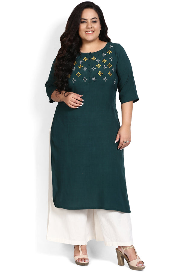 Emerald Green Embroidery Placket Closure Kurti