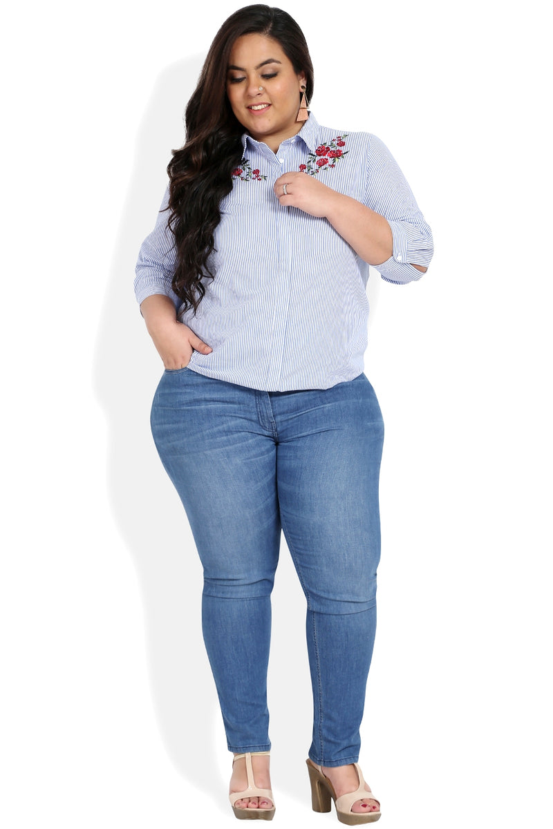 Blue Stripe Embroidered Concealed Placket Shirt