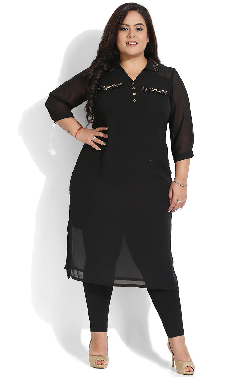 Black Sequin Detail Shirt Tunic