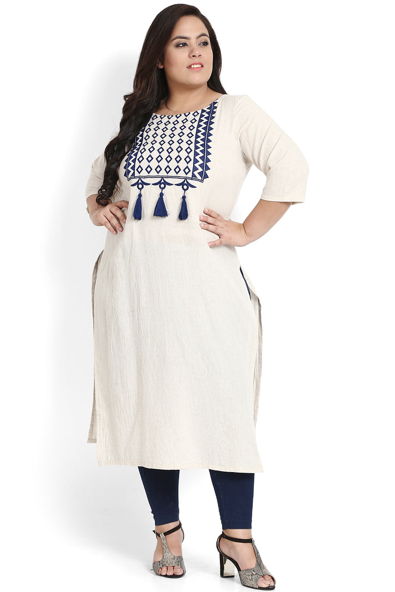 Navy Geometric Embroidery & Tassel Kurti