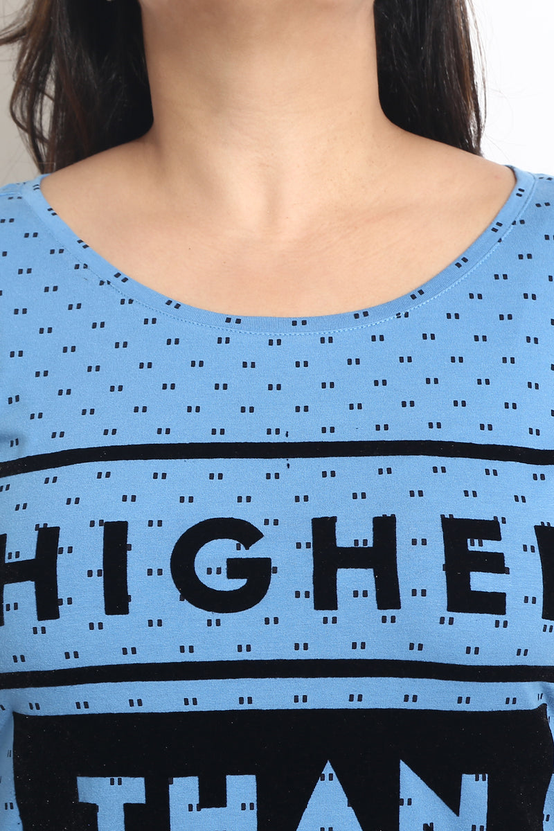 Blue Polka Flock Print T Shirt