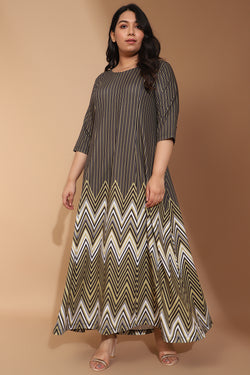 Green Chevron Melody Printed Maxi Dress