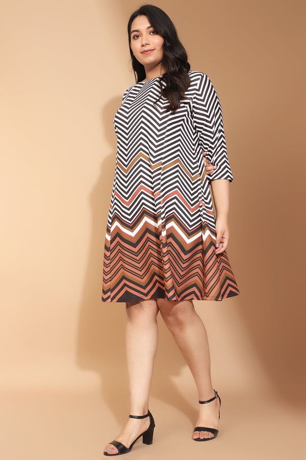 Zig Zag Border Printed Dress