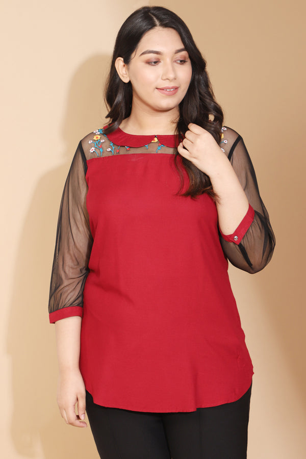 Maroon Net Yoke Emboridered Top