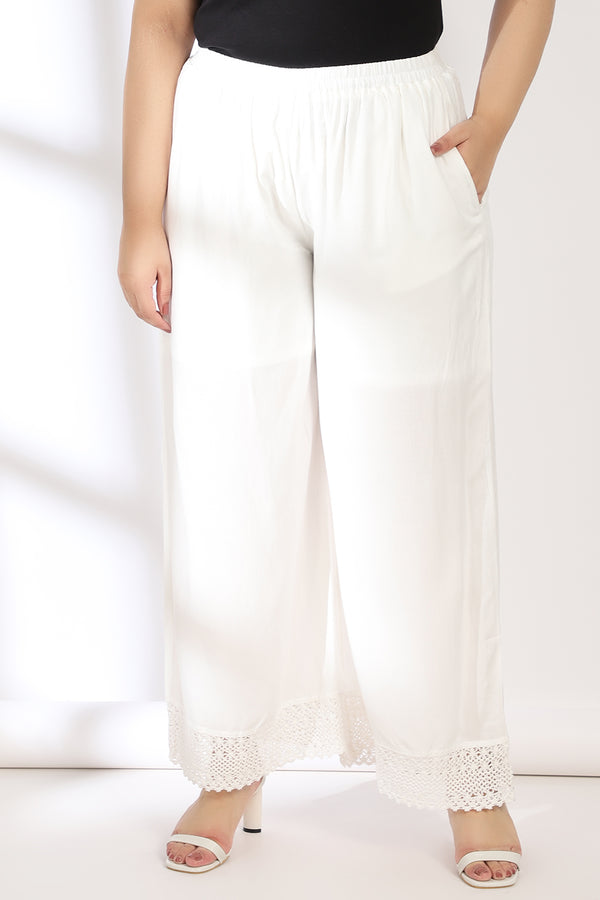 White Bottom Lace Palazzo Pants