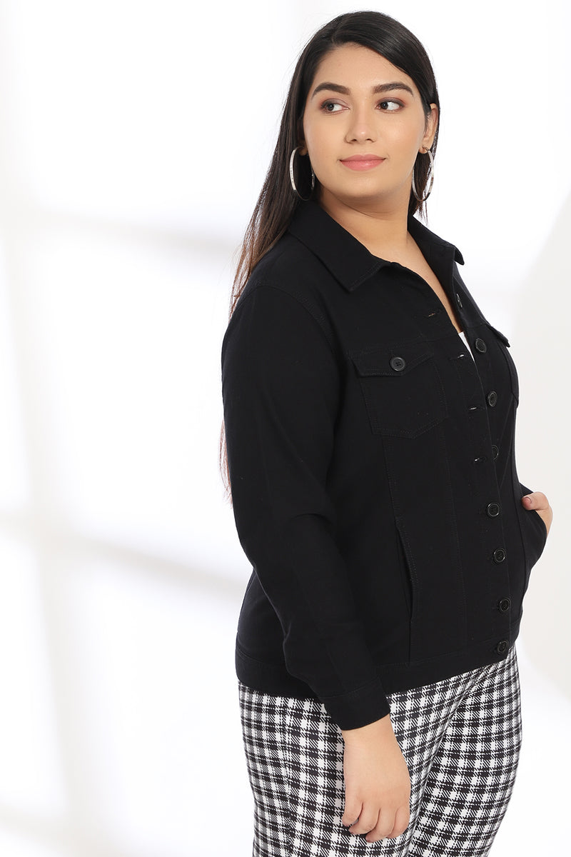 Black Cotton Basic Jacket