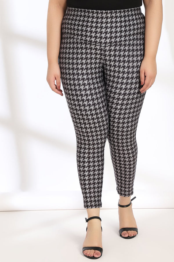 Black Grey Houndstooth Tummy Shaper Printed Lengths