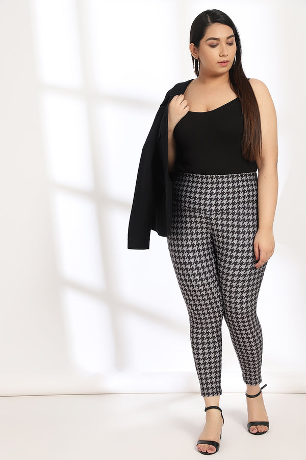 Black Grey Houndstooth Tummy Shaper Printed Leggings