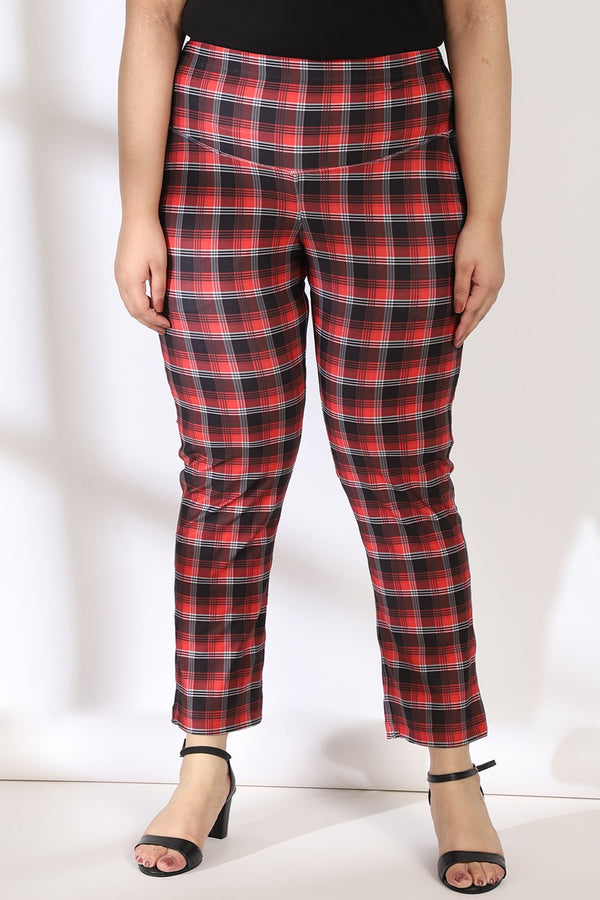Red Black Plaid Tummy Shaper Printed Pants