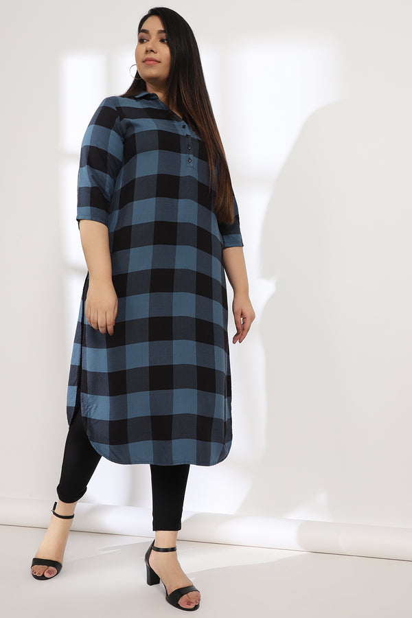 Teal Blue Black Check Collar Kurta