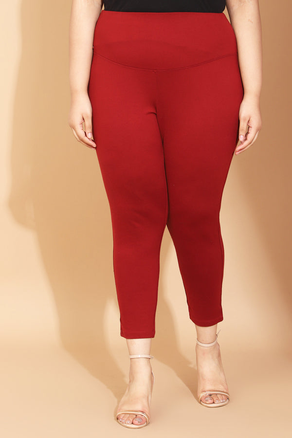 Maroon New Fit Tummy Shaper Jegging