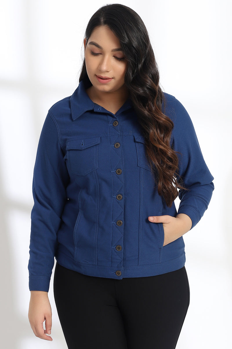 Navy Cotton Basic Jacket