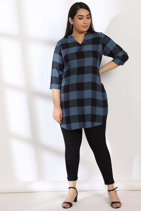 Teal Blue Black Check Longline Tunic