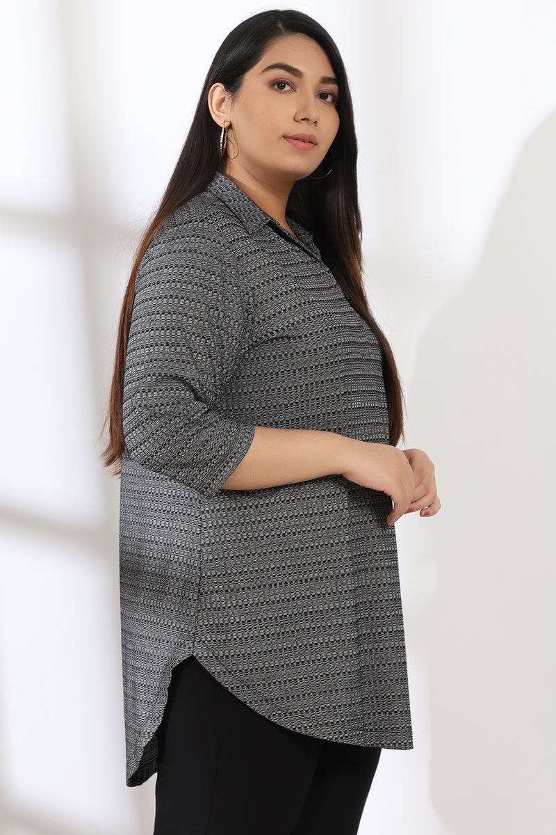 Grey Black Knitted Top