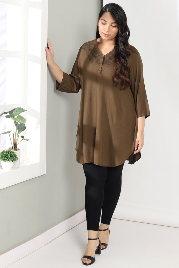 Olive Embroidered Longline Top