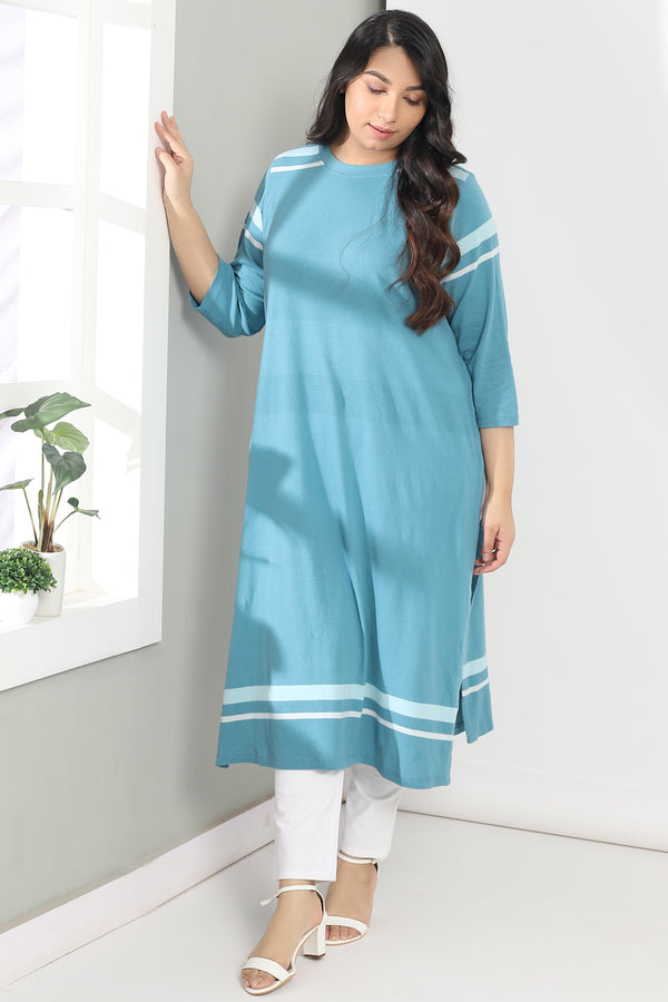 Stone Blue Stripe Knitted Kurti