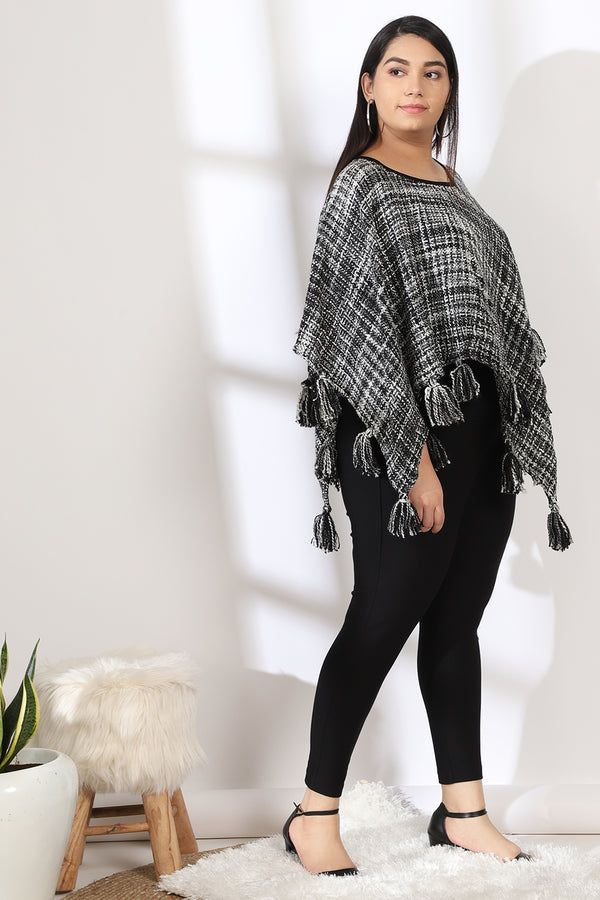 White Black Tassle Detail Poncho