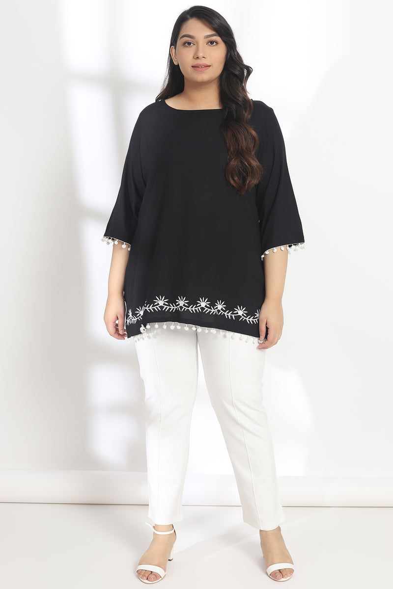 Black Hemline Embroidery Lace Detail Top