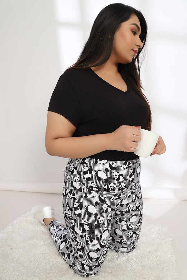 Geomtric Panda Tummy Shaper Printed Jeggings
