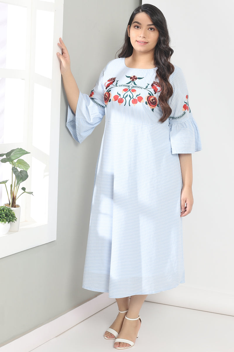 Blue White Stripe Embroidery Frill Sleeve Dress
