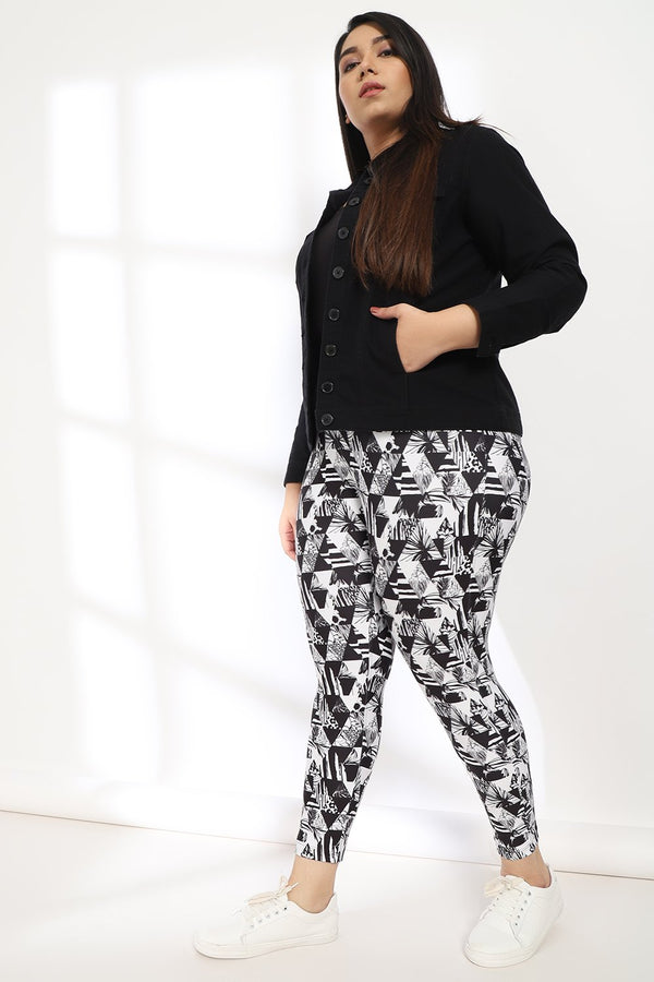 Monochrome Tropical Triangle Tummy Shaper Printed Leggings