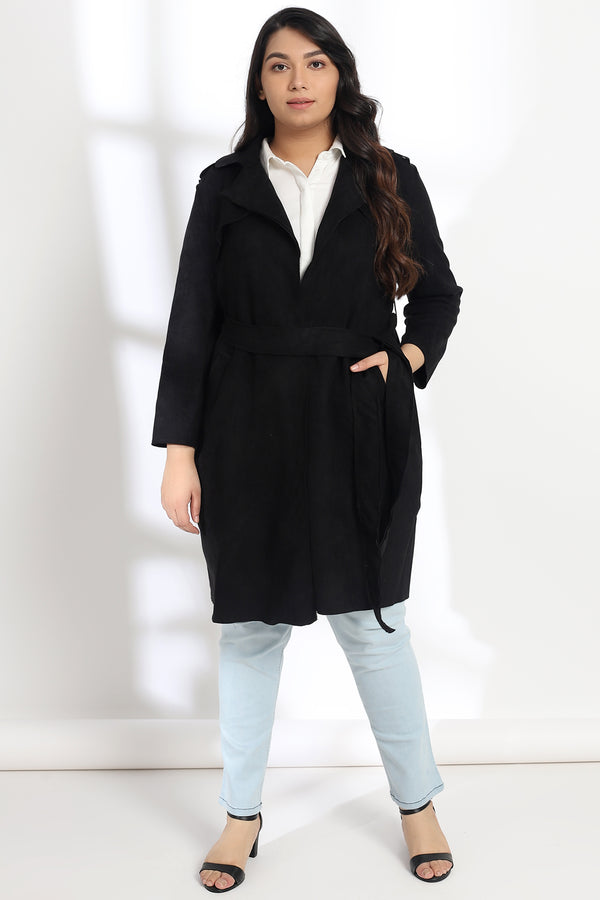 Black Suede Trench Coat