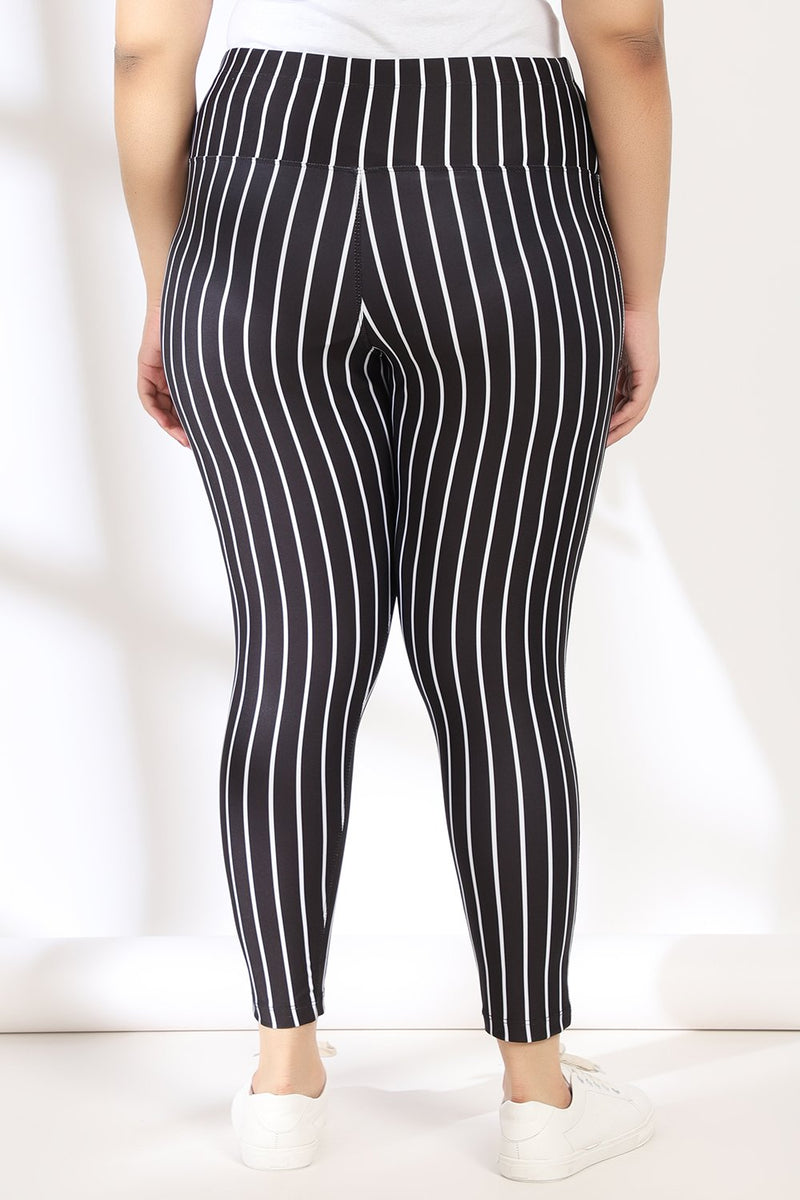 Black White Stripe Tummy Shaper Printed Leggings