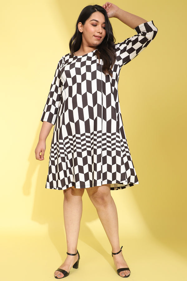 Monochrome Chevron Printed Dress