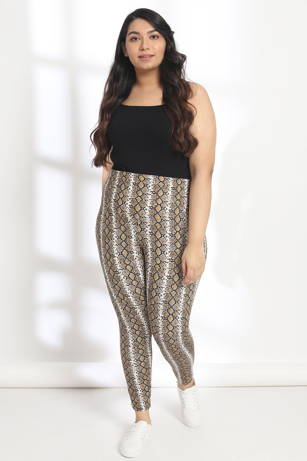 Mustard Black Snake Print Tummy Shaper Printed Leggings