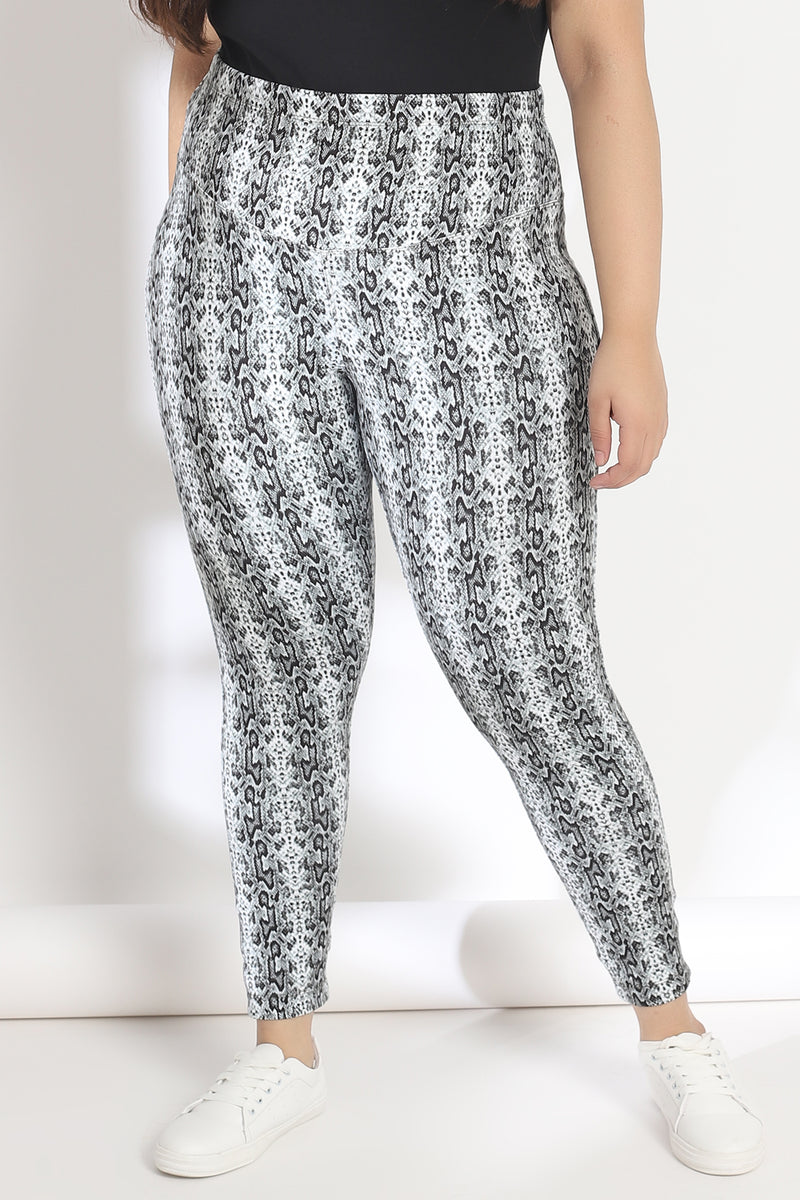 Black and White Snake Print Tummy Shaper Printed Leggings