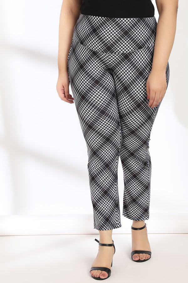Black White Bais Check Tummy Shaper Printed Pants