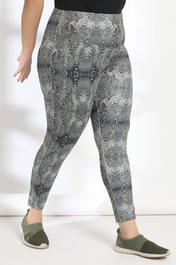 Marsh Green and Black Snake Print Tummy Shaper Printed Leggings