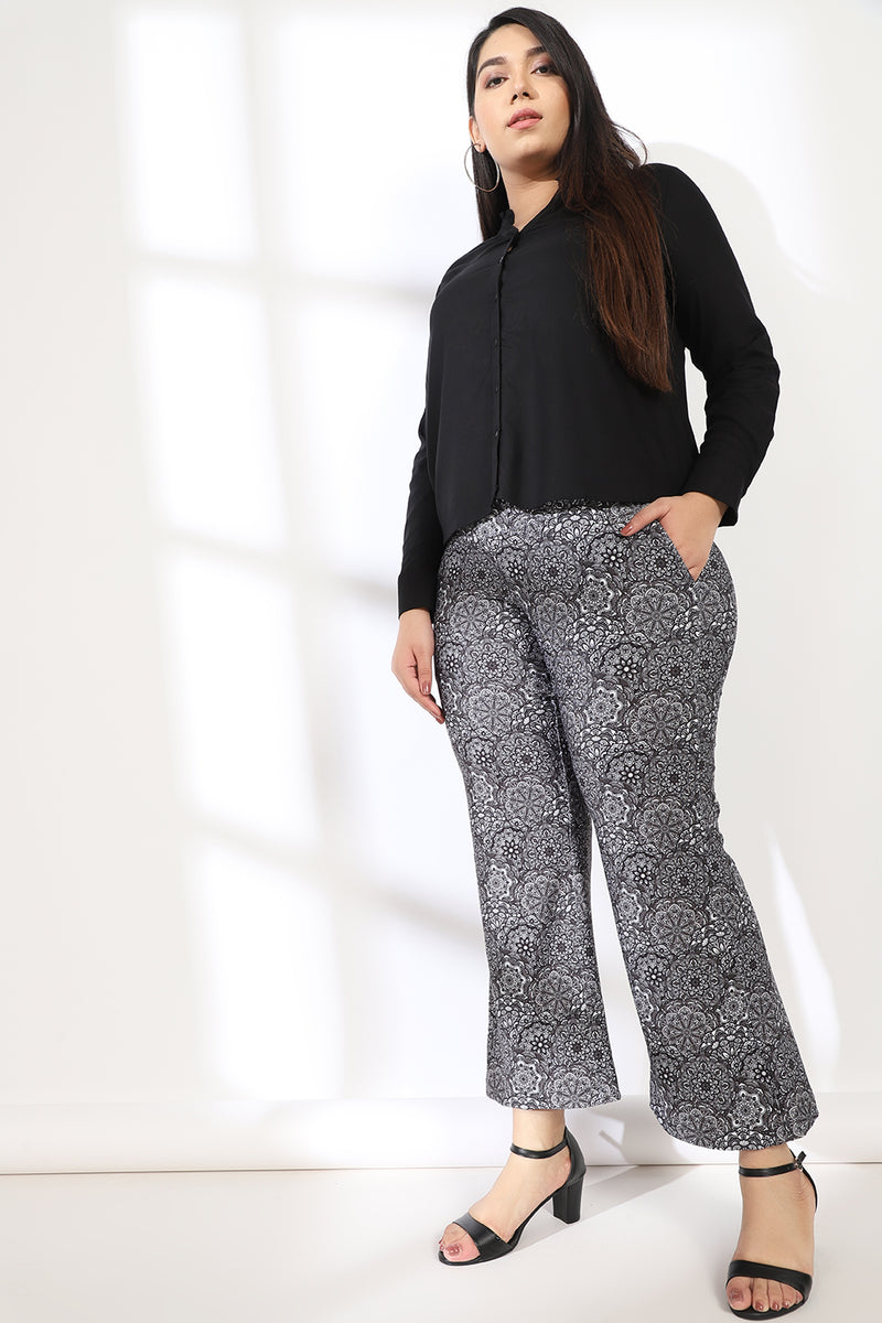 Ethnic Motifs Tummy Shaper Printed Flare Pants
