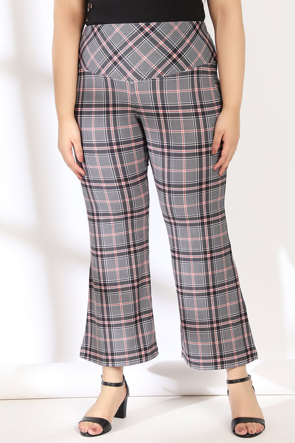 Black Red Dupplin Check Tummy Shaper Printed Flare Pants