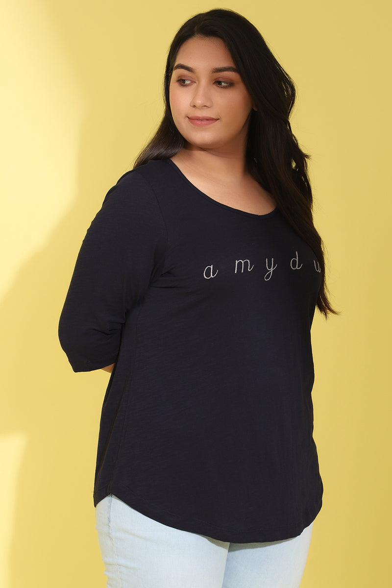 Navy Emroidered TShirt