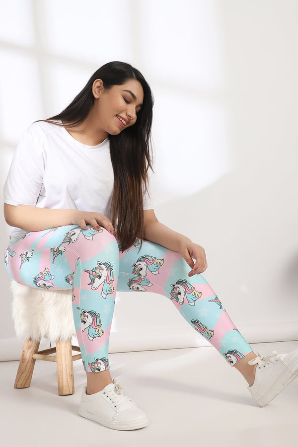 Unicorn Tummy Shaper Printed Leggings