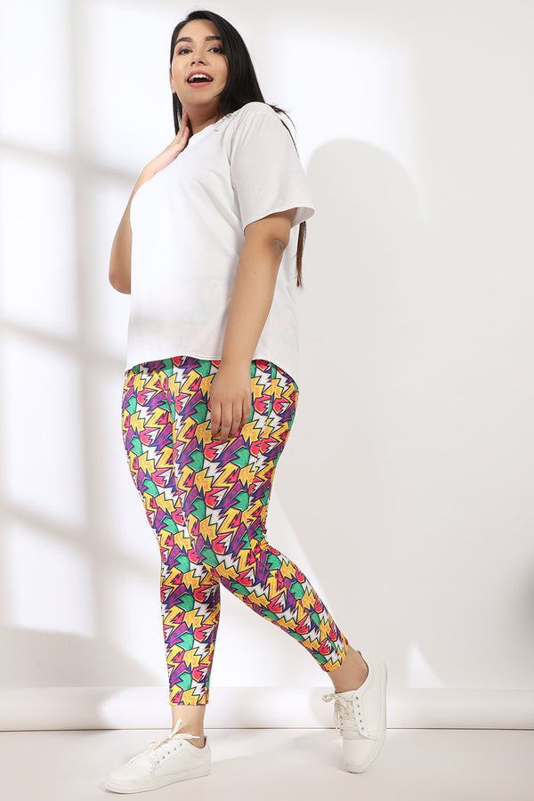 Thunderbolt Tummy Shaper Printed Leggings