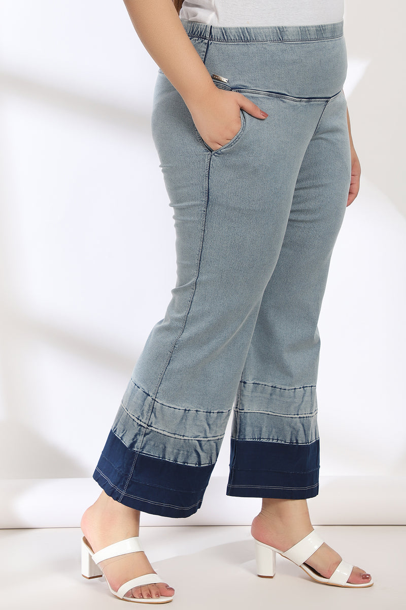 Ice Wash Bottom Design Tummy Shaper Boot Cut Denim