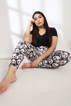 Goggle Panda Tummy Shaper Printed Leggings