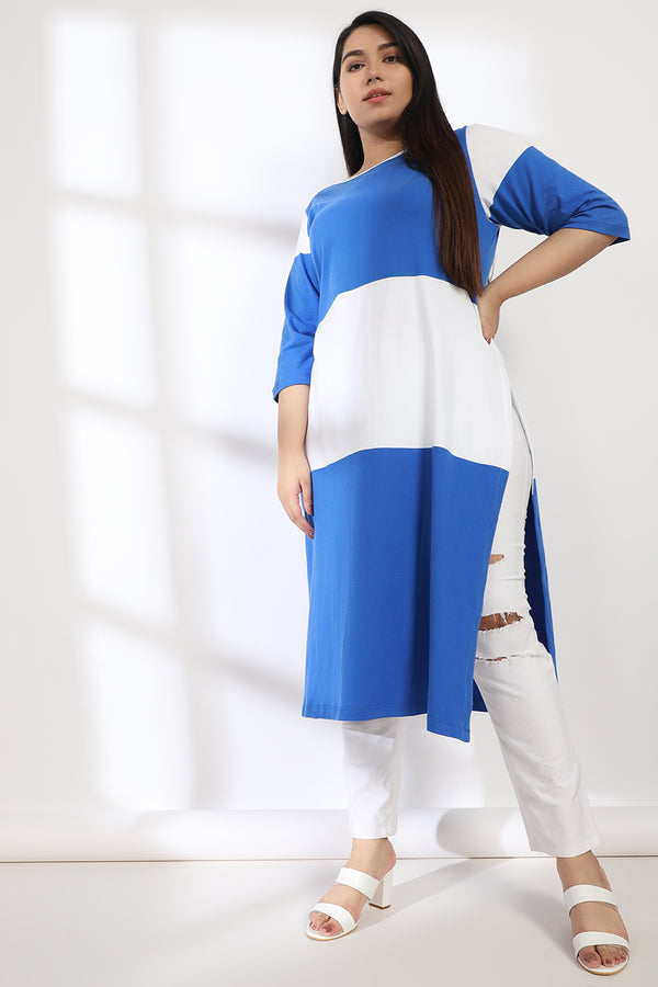 Blue White Stripe Knitted Kurti
