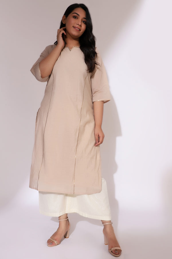Golden Cream Princess Seam Embellished Chanderi Kurti