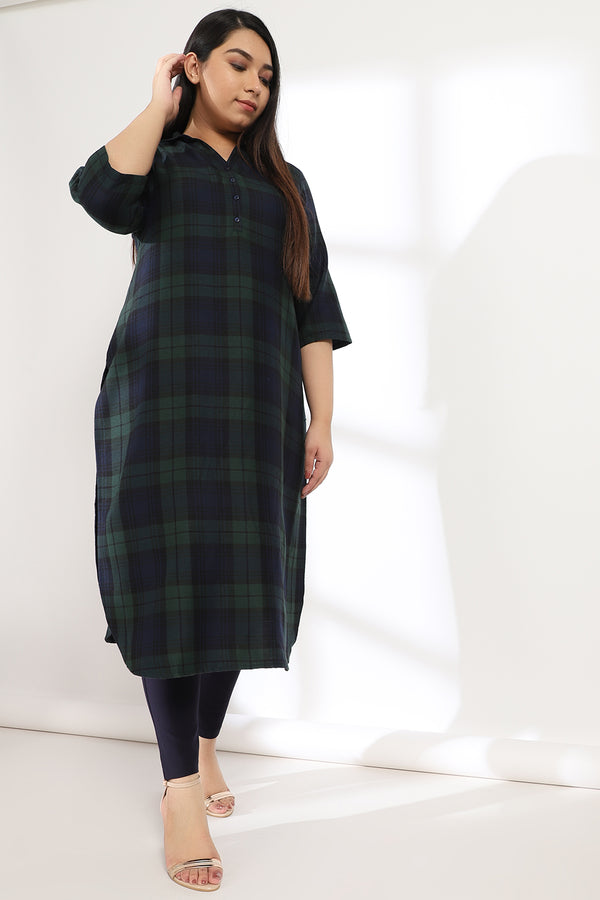 Green Navy Check Kurta