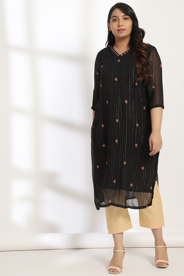 Neck Embroidery Black Kurti